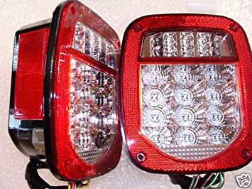 Jeep TJ CJ YJ Replacement Tail Lights w/Bright Red LED's  Yj Tail Light Wiring Diagram on