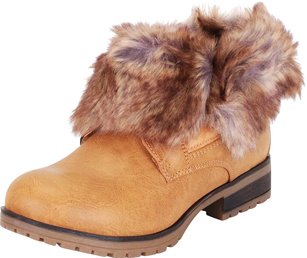 Tan Pu Cambridge Select Women's Faux Fur Fold Over Cuff Chunky Lug Sole Ankle Bootie