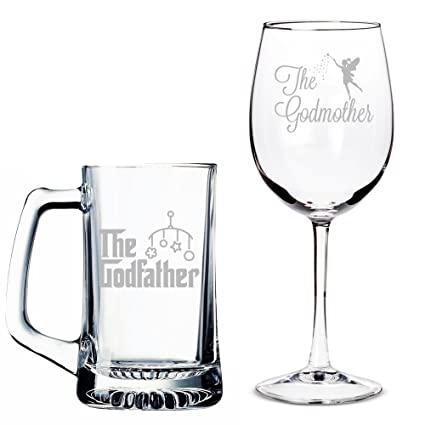 61bb60ca11e Amazon.com   All Gifts The Godfather Beer Mug and The Godmother Wine Glass  Set: Wine Glasses