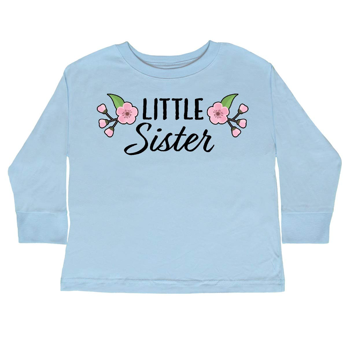 inktastic Little Sister with Cherry Blossom Flowers Toddler Long Sleeve T-Shirt