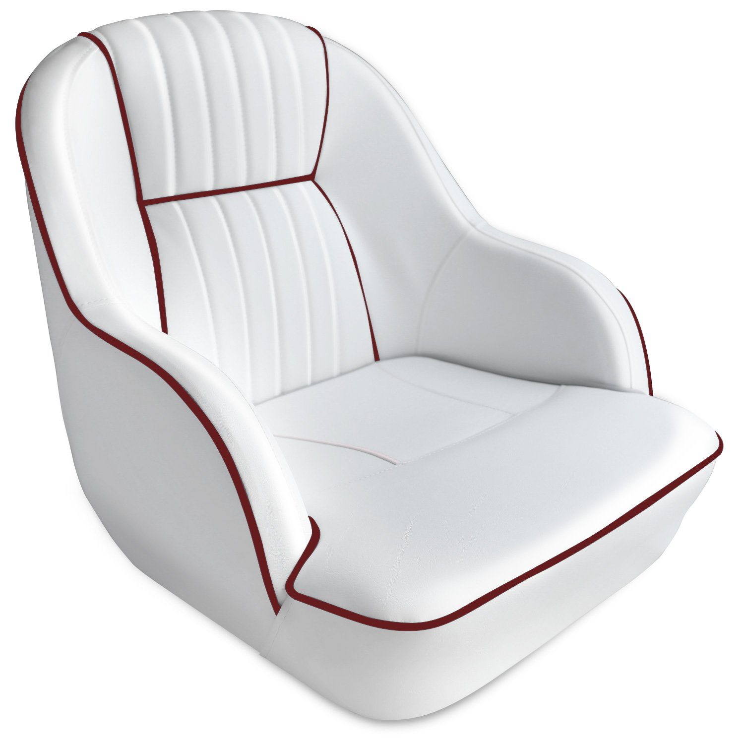 Leader Accessories Pontoon Captains Bucket Seat Boat Seat (White/Dark Red Piping)