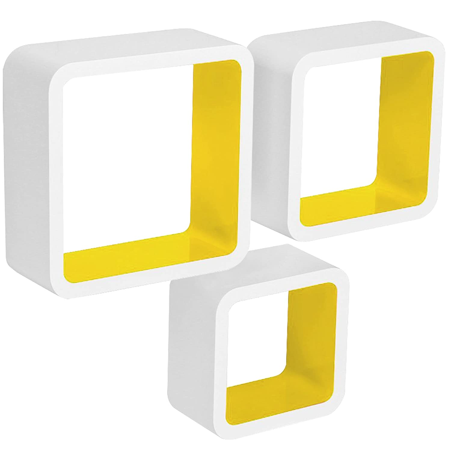 WOLTU Floating Shelves Yellow-White Cube Wall Set of 3 CD DVD Toys ...