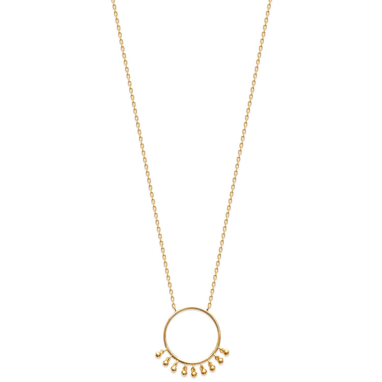Tata Gisèle collar en chapado en oro – colgante anillo y pequeñas abalorios – incluye bolsita regalo terciopelo