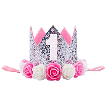 Missley Corona Rosa Flor Corona de Oro Corona de cumpleaños Princesa bebés Corona Cabeza Accesorios de Pelo (G)