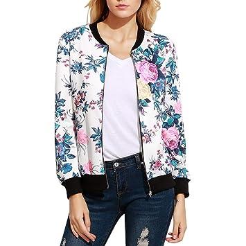 QZHE Chaqueta de bombardero Pilot Jacket Print Flower Chaqueta Blanca De Mujer Casual Zipper Long Sleeve Baseball Jacket: Amazon.es: Deportes y aire libre