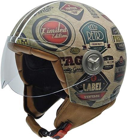 Blanc//Noir 59 NZI Vintage II Casque de Moto
