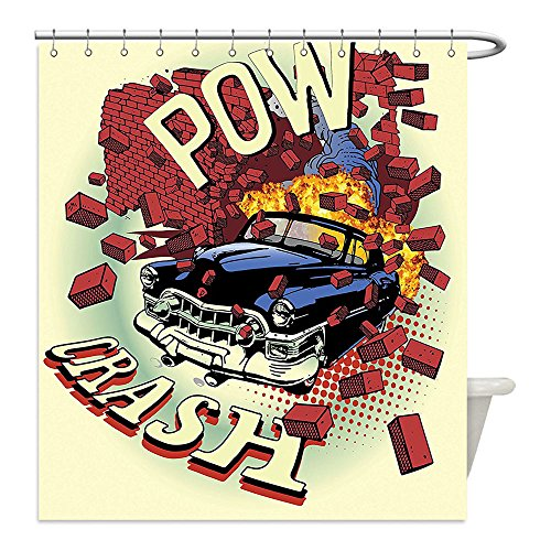 Liguo88 Custom Waterproof Bathroom Shower Curtain Polyester Decor Car Crash Accident in Brick Illustration with Eighties Pop Art Details Broken Motor Theme Decor Multi Decorative (80's Pop Stars Costume Ideas)