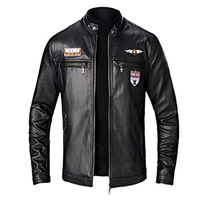 WaiiMak Men's Casual PU Leather Jacket, Casual Biker Motorcycle Tight Cool Bomber Jacket at Men's Clothing store