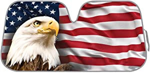 BDK AS-764 USA Patriotic American Eagle Flag Front Windshield Shade-Accordion Folding Auto Sunshade for Car Truck SUV-Blocks UV Rays Sun Visor Protector-Keeps Your Vehicle Cool-58 x 28 Inch