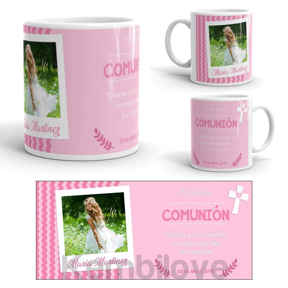 Kembilove Taza Primera Comunión Personalizada con Foto, nombre y fecha de niña - Regalo Original para regalar a los invitados - Tazas personalizadas para comuniones