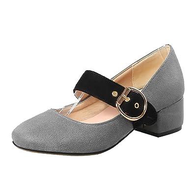 YE Mary Jane Damenschuhe Chunky Heels Pumps Niedriger Absatz Halbschuhe mit Blockabsatz 5cm Schuhe