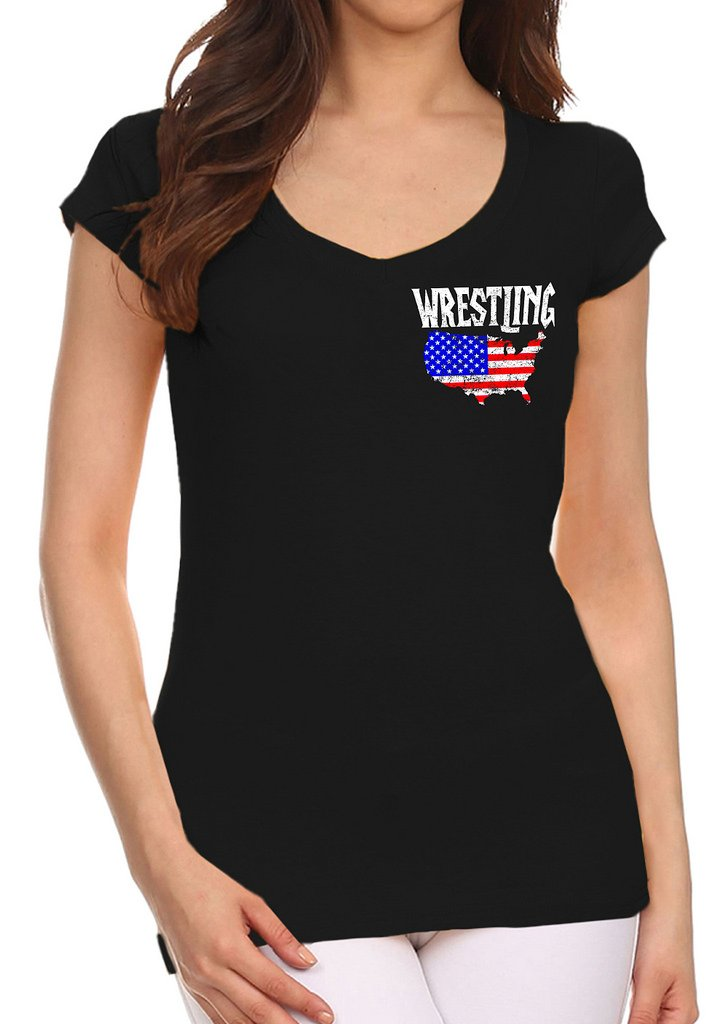 Interstate Apparel Inc Junior's Wrestling American Flag Map Black V-Neck T-Shirt Large Black by Interstate Apparel Inc