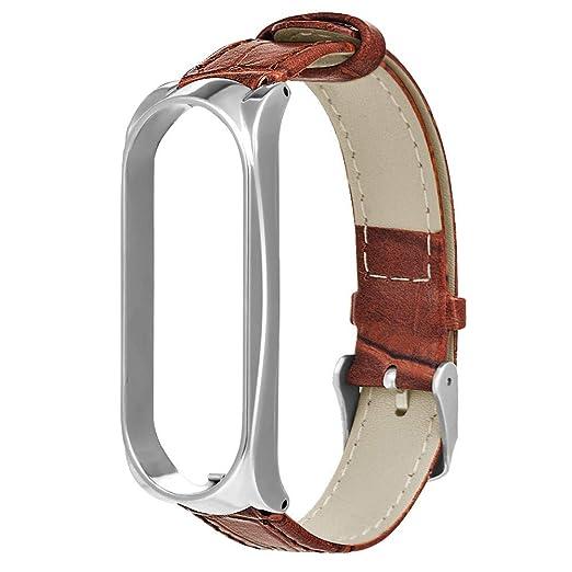 para Xiao Mi Band 3 ,Banda Reemplazo de Cuero Deportiva Reemplazo de Banda de Reloj de Cuero clásico de Lujo Pulsera Banda: Amazon.es: Relojes