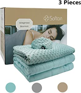 softan Weighted Blanket 3 Pieces Set (60x80'' 15Lb)– Premium Ultra-Soft Removable Cover, Weighted Inner, Weighted Mask,2.0 Plush Breathable Adults Heavy Blanket,Queen Size Beds(Aqua, Dot Minky)
