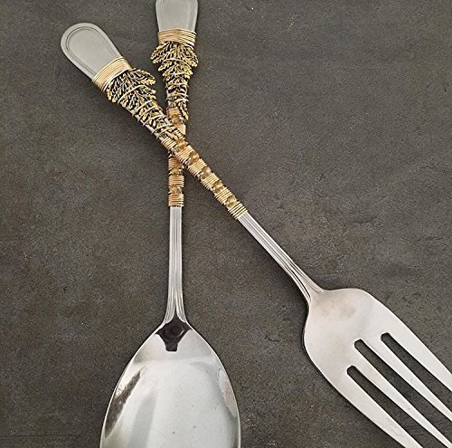 12 Inch Gold Leaf Wrapped Serving Spoon & Fork Set (Beaded Serving Spoon)