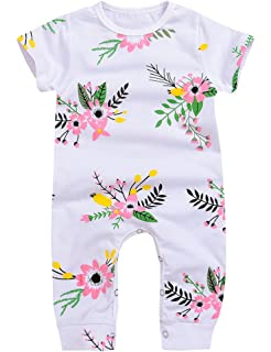 amazon com greenafter newborn baby girl floral printed romper