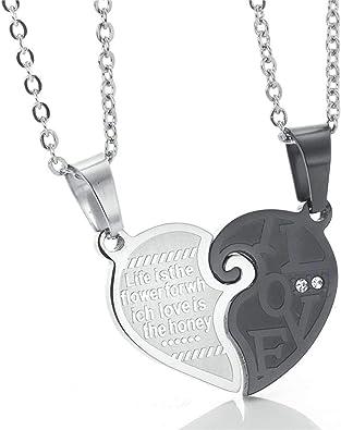 KnSam Necklace Men Stainless Steel Love Puzzle Necklace Pendant