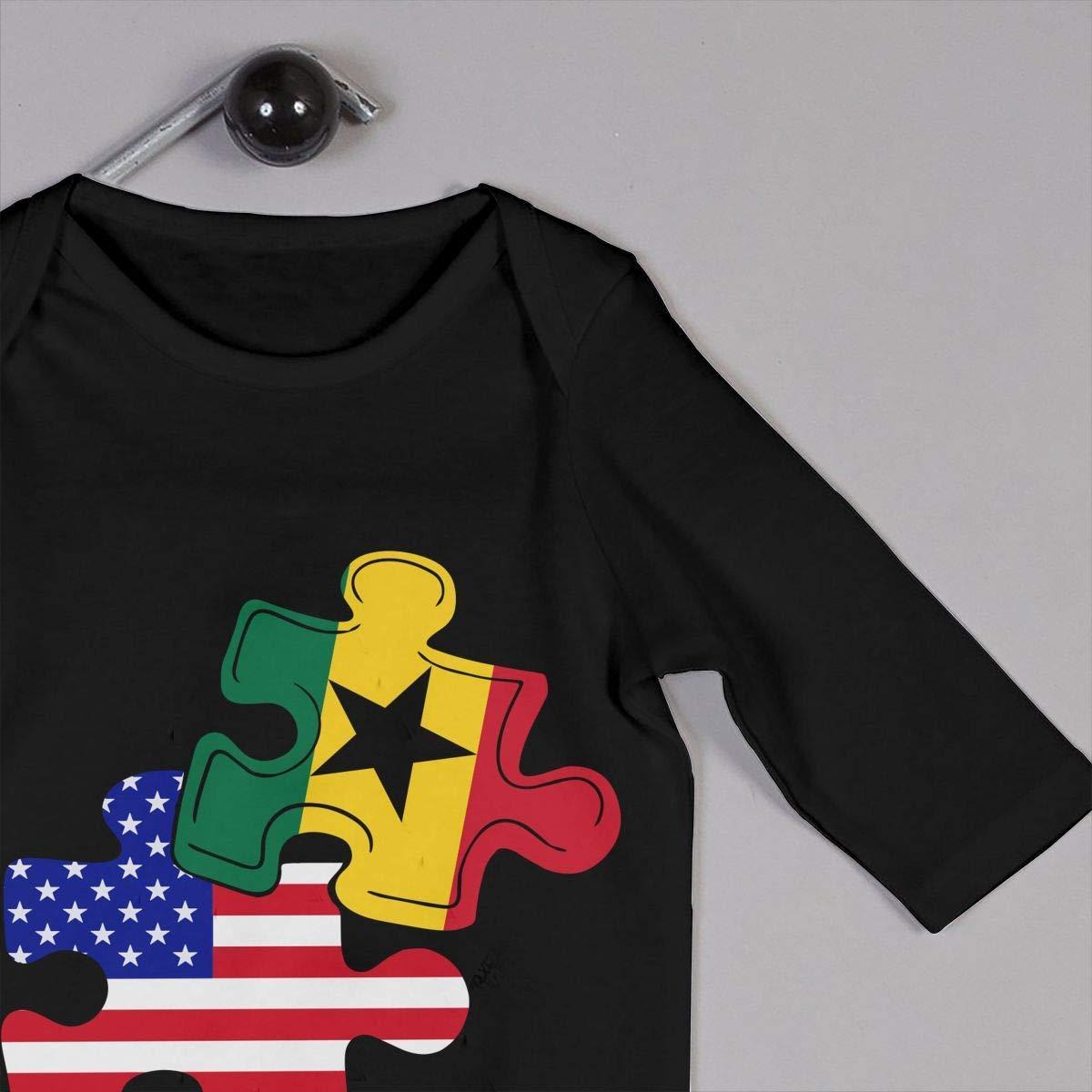 TYLER DEAN Newborn Kids Long Sleeve Jumpsuit Ghana American Flag Puzzle Piece Toddler Jumpsuit