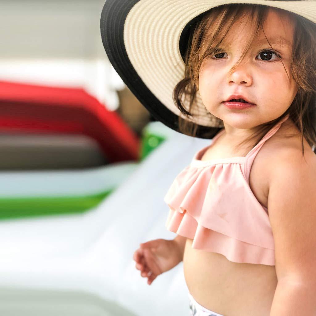Hauzet Kids Baby Girls Leaf Print Vest Summer Swimwear Bikini Outfits Set Swimsuit