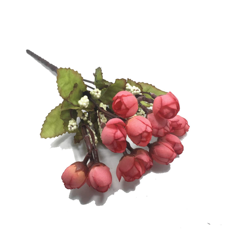 カラフルなシルクの造花 15本 ミニローズ ホームデコレーション 結婚式用 小さなバラのブーケ デコレーション NA B07QF82S4F A
