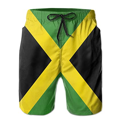 b94a7b4a1b Matthew Schrock Jamaica Flag Men's Swim Boardshorts Quick-dry Surf Beach  Shorts Casual Sport Trunks
