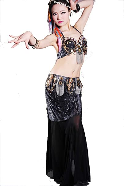 zltdream Mujer Disfraz De Tribal Danza del Vientre Sujetador Top y Falda de seda de hielo 2pcs/set: Amazon.es: Ropa y accesorios