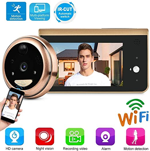 Tangxi WiFi Digital Door Viewer,Wireless Video Doorbell,Peephole Viewer 4.3 Inch LCD Screen+1MP HD Camera+166/° Wide Angel+PIR Motion Detection+IR Night Vision+APP Control for Home Security System