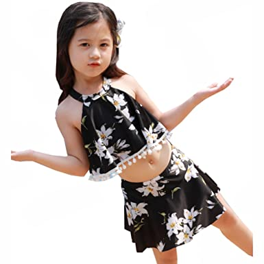 aa62a0d85 miaoshop Little Girls Two Piece Bikini Set Fashion Beach Ruffles Tassel Skirt  Swimsuit (M/