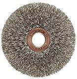 Weiler Copper Center Wire Wheel Brush, Round Hole, Stainless Steel 302, Crimped Wire, 3'' Diameter, 0.008'' Wire Diameter, 1/2'' Arbor, 1'' Bristle Length, 5/8'' Brush Face Width, 20000 rpm