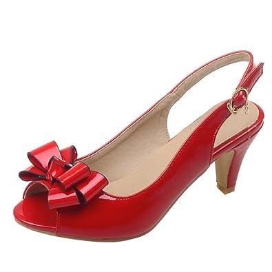 YE Damen Kitten Heel Sandals Peep Toe Riemchen Sandalen mit Schleife Slingback Pumps Hochzeit Braut Abend Schuhe