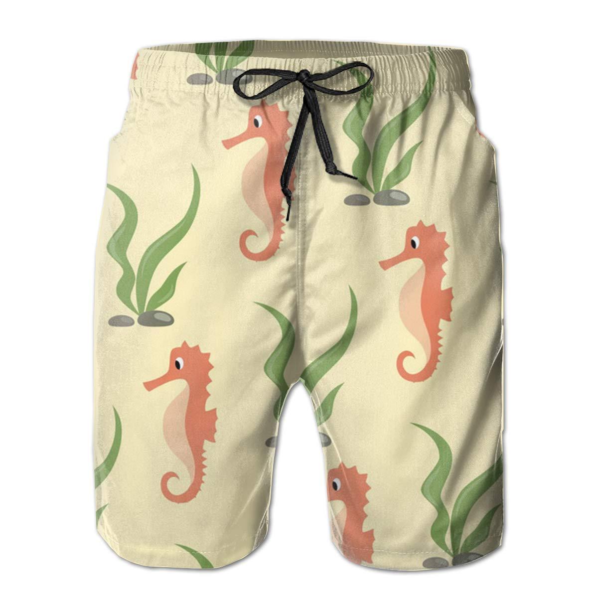 Swim Trunks Board Shorts for Men Fancy Illusion Seahorse Casual Boy Men S Shorts