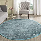 Safavieh RAR121B-4R Rag Rug Collection Hand Woven Blue/Multi Cotton Round Area Rug, 4-Feet in Diameter