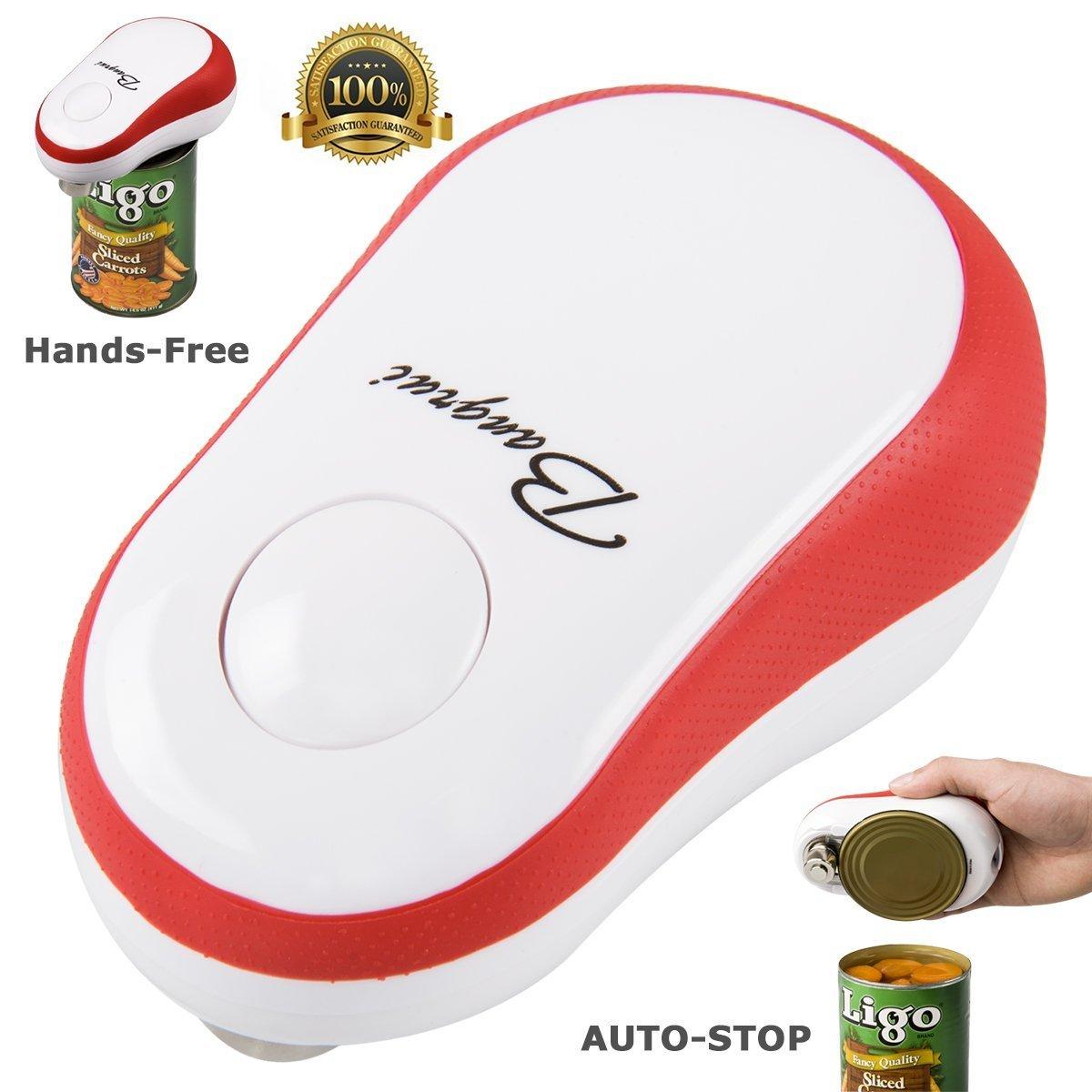 bangrui abrelatas eléctrico (Versión mejorada automático abrelatas eléctrico (mano libre rápido seguro inteligente función de parada para personas mayores Vieja Personas diestros y zurdos rojo