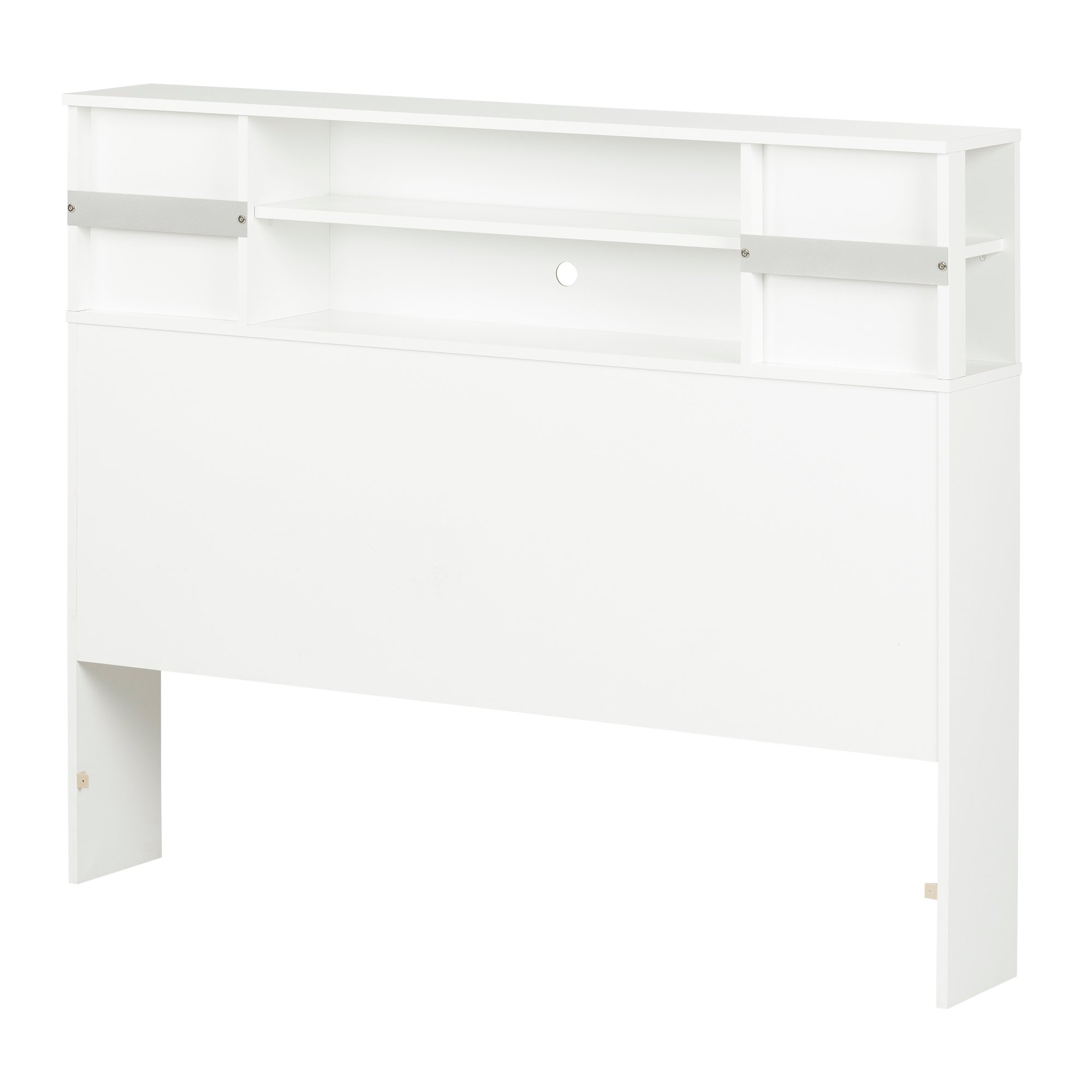 South Shore Step One Bookcase Headboard with Compartment Storage, Full 54-inch, White
