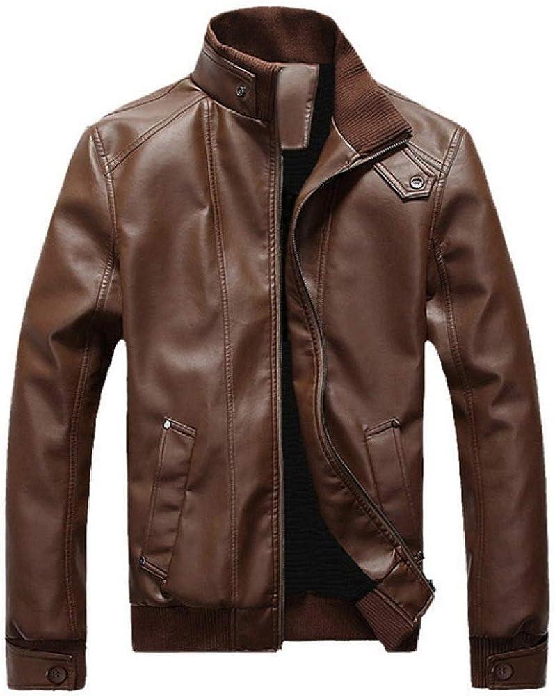 Loeay Chaqueta de Cuero con Cremallera para Hombre Primavera Otoño Casual Abrigos de Piel sintética Chaqueta de Motociclista Marrón Slim Fit Vintage