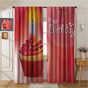 1st Birthday Grooved Curtain Background Colorful Thermal Curtain Abstract Background with Sunbeams and Party Cupcake Candlestick Image Insulating Room Darkening Blackout Drapes for Bedroom W84 x L84