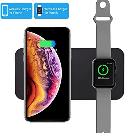 COSOOS Wireless Charger,2 in 1 Qi Wireless Charging Pad,Compatible with Apple Watch Series 1234Nike+Edition,iPhone 11Pro Max 11 Xs MaxXRX