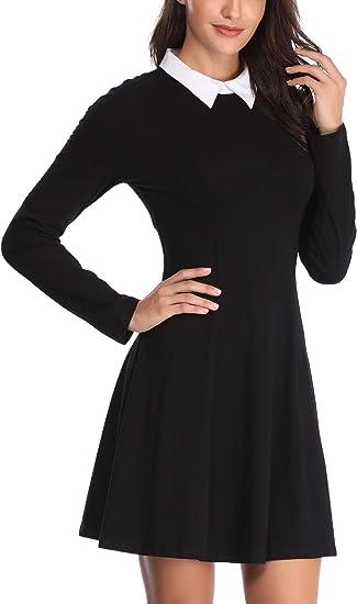 Womens Peter Pan Collar Long Sleeve Casual Halloween Dress