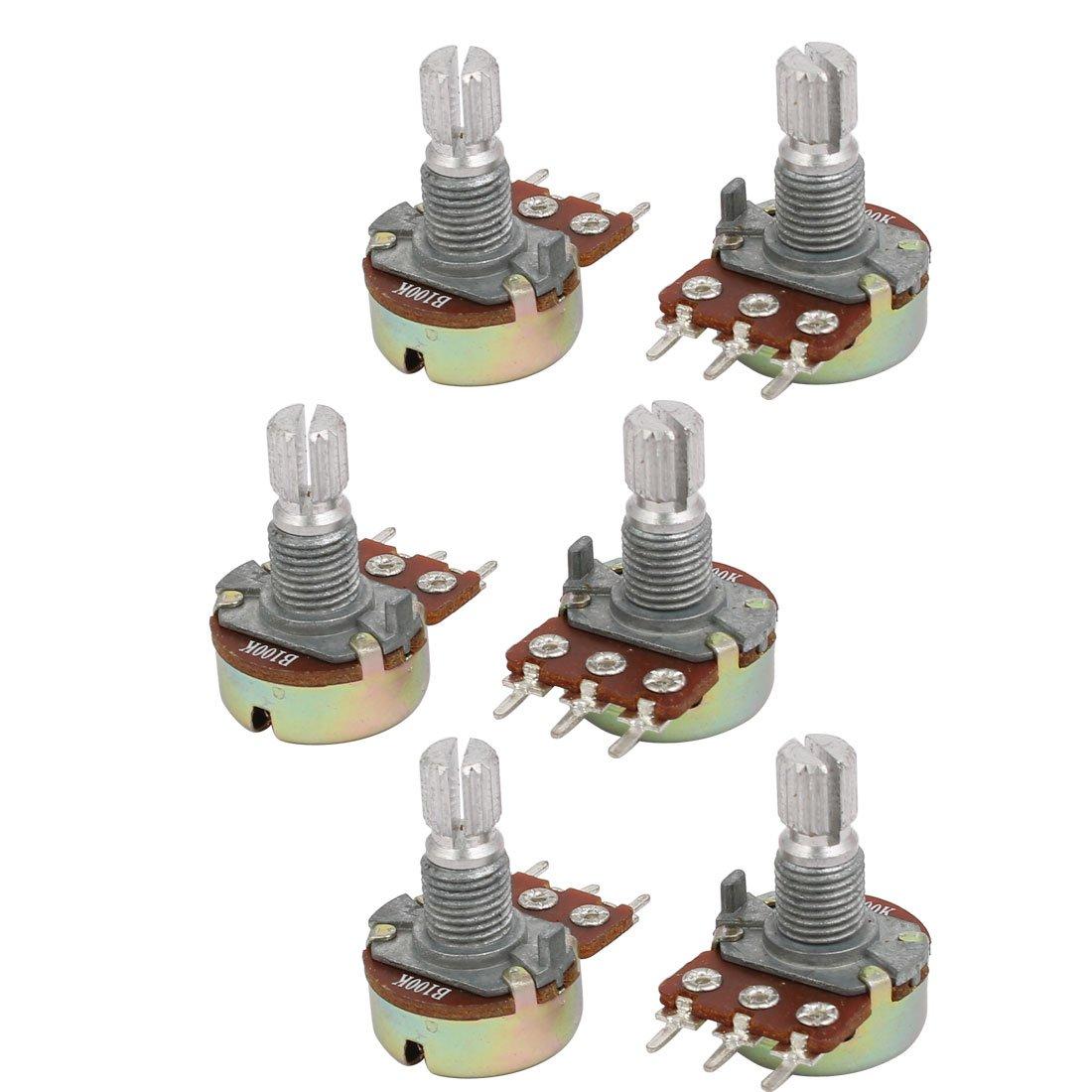 sourcingmap® Guitar Pots Audio Tone 100K Ohm Potentiometer Switch Replacement 6pcs