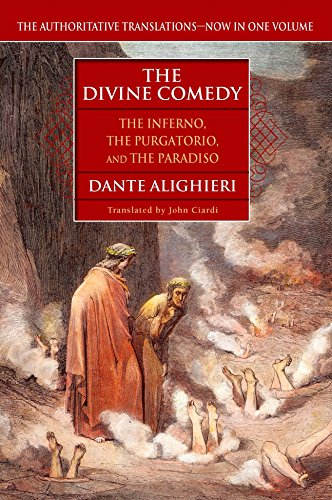 Book cover from The Divine Comedy (The Inferno, The Purgatorio, and The Paradiso) by Dante Alighieri