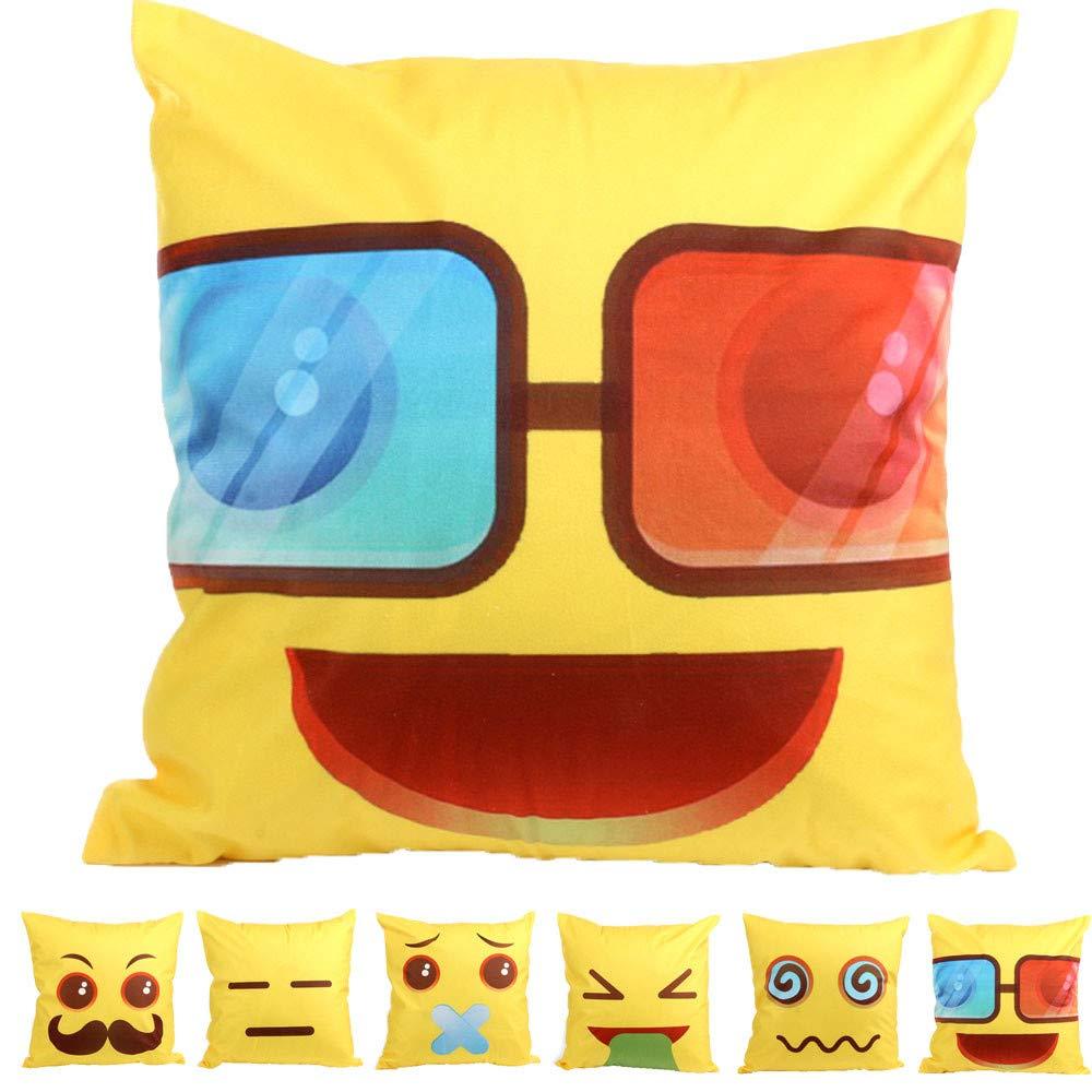 DIPOLA Funda de cojín Emoji Sofá Cintura Throw Cushion Cover ...