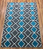 5 feet by 7 feet rug - Antep Rugs Kashan King Collection 509 Trellis Polypropylene Indoor Area Rug Blue and Grey 5' X 7'