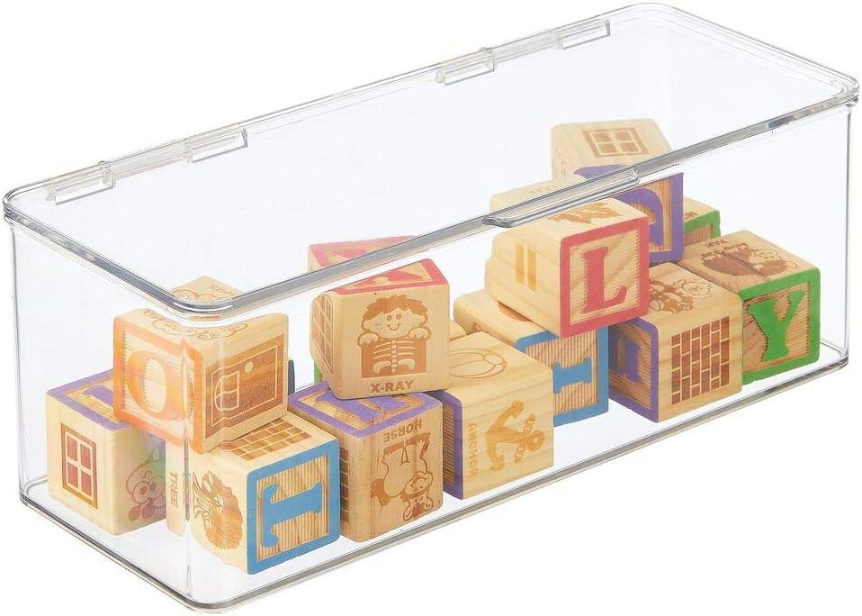 transparente Caja organizadora apilable para guardar juguetes y manualidades 14,6 x 34,0 x 12,7 cm mDesign Juego de 4 organizadores de juguetes Juguetero grande con tapa de pl/ástico robusto