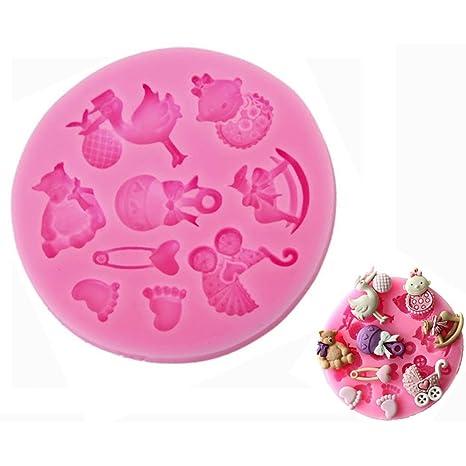 DreamFlying Baby Shower tema forma silicona Chocolate Fondant galletas molde decoración de pasteles molde – Baby