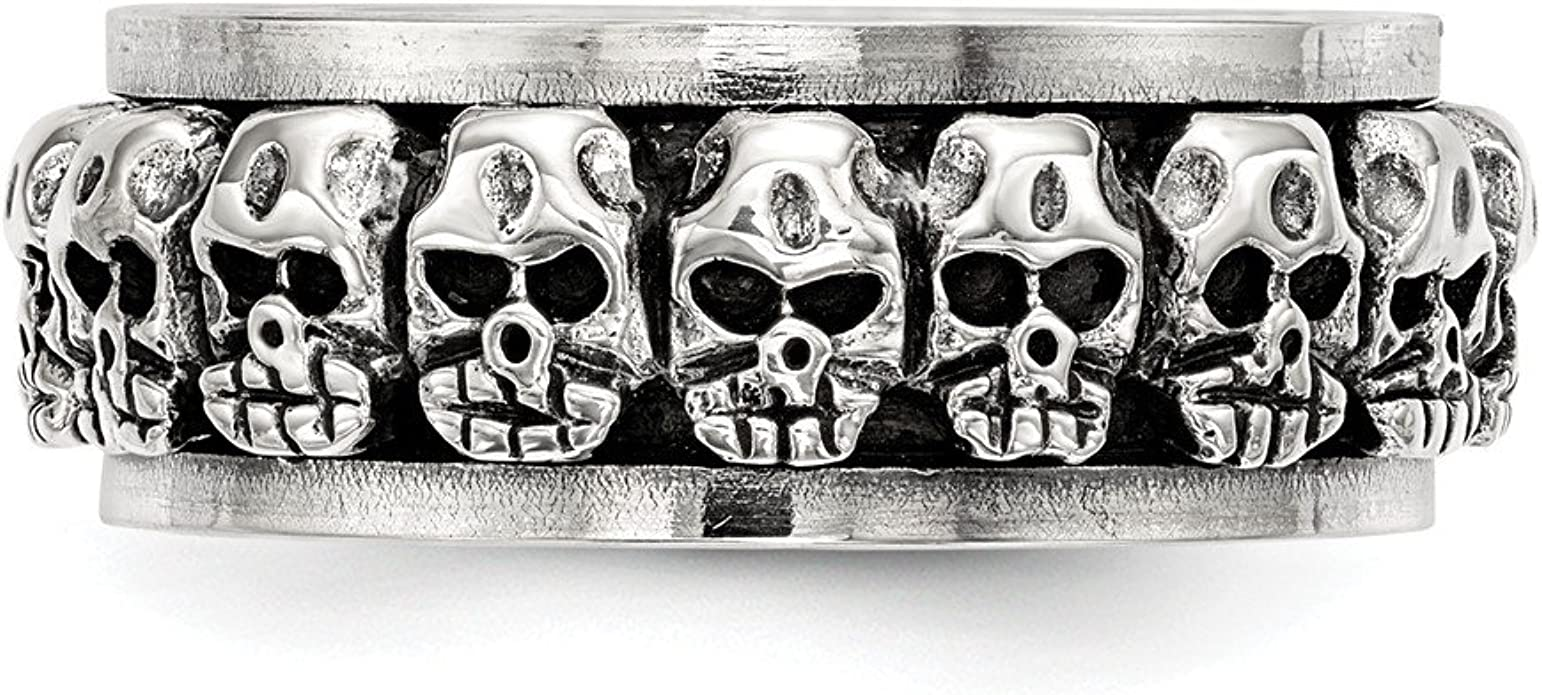 Sterling Silver Polished Spinning Center Antiqued Skull Ring ...