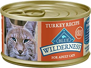 Blue Buffalo Wilderness High Protein Grain Free, Natural Adult Pate Wet Cat Food, Turkey 3-oz cans (Pack of 24)