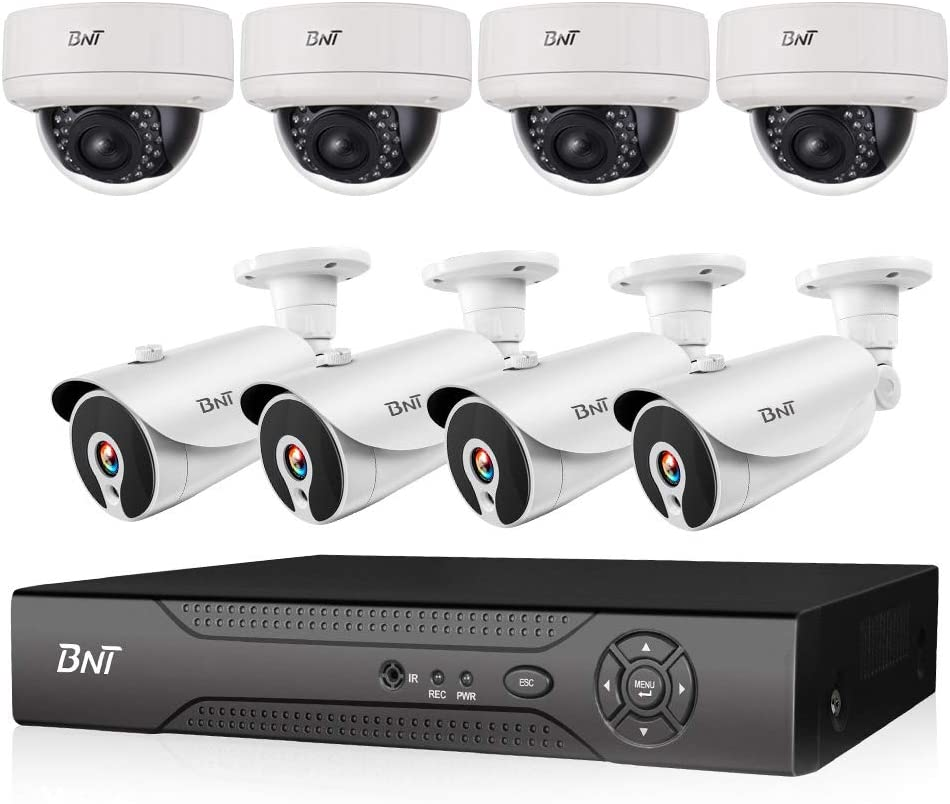 BNT 1080P 8CH PoE Security Camera System,4Dome 4X Zoom Camera 4Bullet Camera, Remote Monitoring 7 24 Recording Onvif, Motion Detect IP67 Outdoor, Support Max.8TB Hard Drive-not Included
