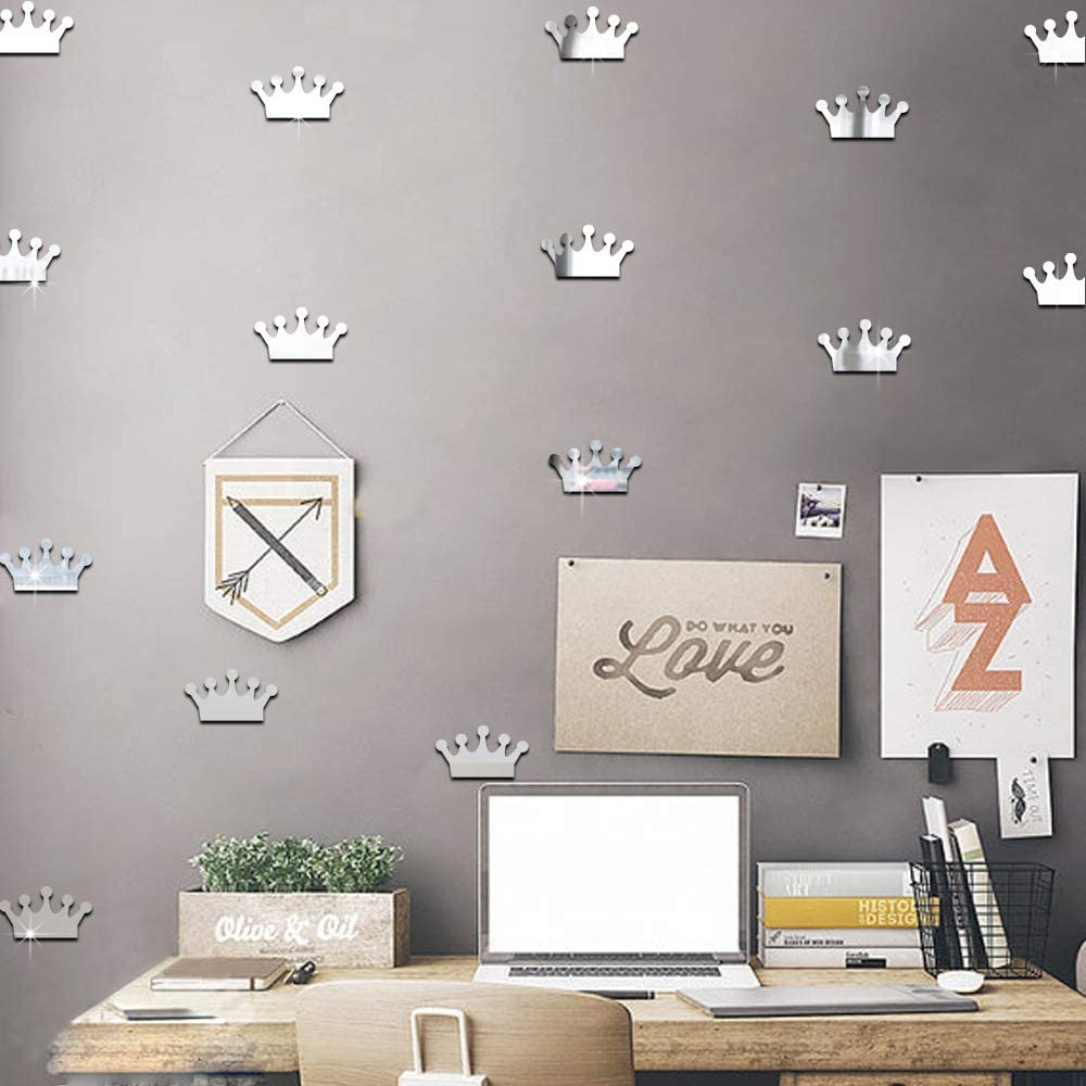 Princess Crown Mirror Effect Wall Decals Removable Stickers Vinyl Decal Decor for Kids Baby Bedroom Nursery Decoration Home Decor Wall Stickers 15Pcs (Sliver) style2