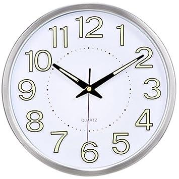 RFVBNM Metálico luminoso silencioso reloj de pared dormitorio salón luminoso reloj reloj reloj pared A/30*30cm: Amazon.es: Hogar