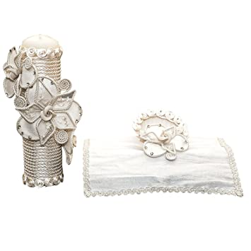 Amazon.com : Handmade Catholic Baptism Kit including Towel, Candle and Shell Kit De Bautizo Religious Gift (Modelo 8, Beige) : Baby